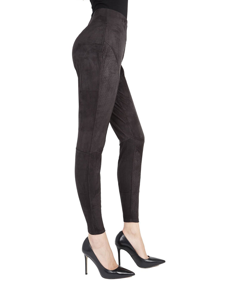 Memoi Black Vegan suede Shaping Legging | Women's Premium Shaping Faux Leather Vegan Leather Leggings