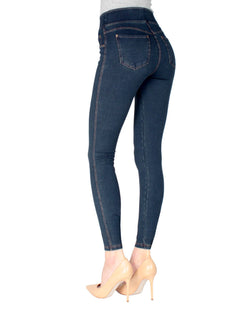 MeMoi Blue Denim Shaping Jean Leggings | Women's Premium Jean Leggings - Jeggings