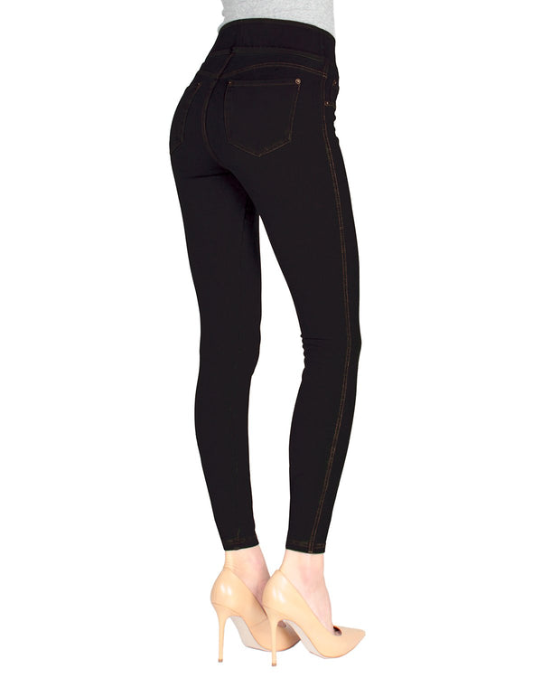 MeMoi Black Mago Denim Shaping Jean Leggings | Women's Premium Jean Leggings