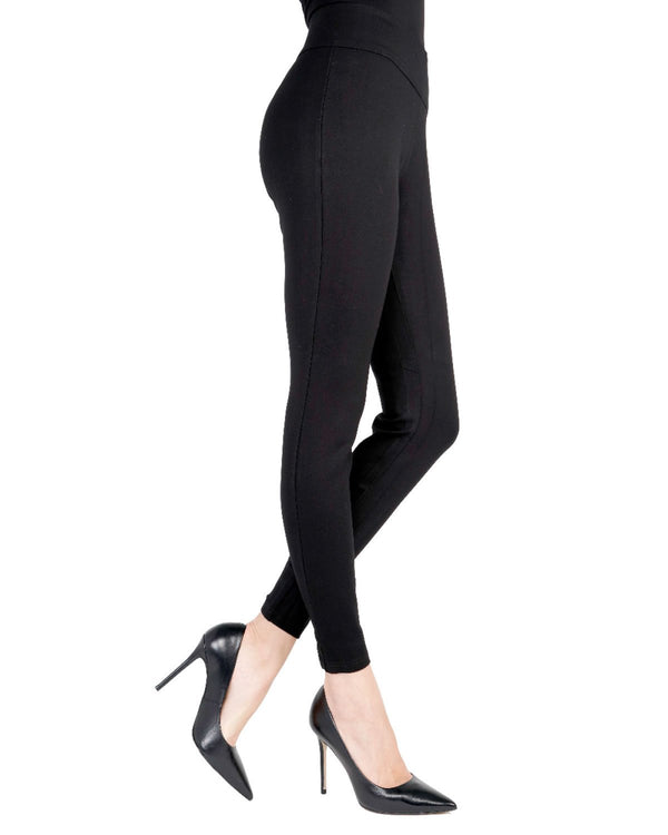 Memoi Black Standard Black Shaping Leggings | Women's Premium Fashion Leggings
