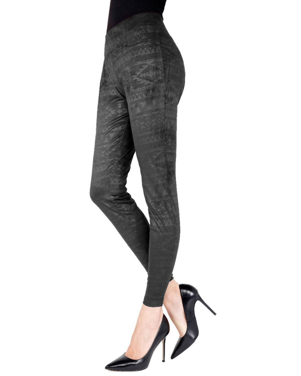 Memoi Black Tribal Inspired Shaping Legging | Women's Premium Fashion Leggings