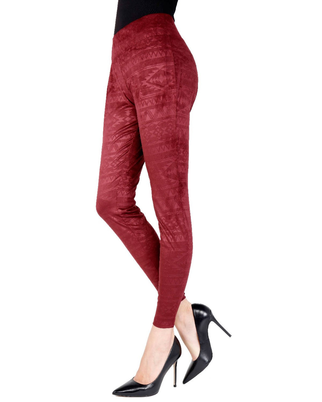 Memoi Burgundy Tribal Inspired Shaping Legging | Women's Premium Fashion Leggings