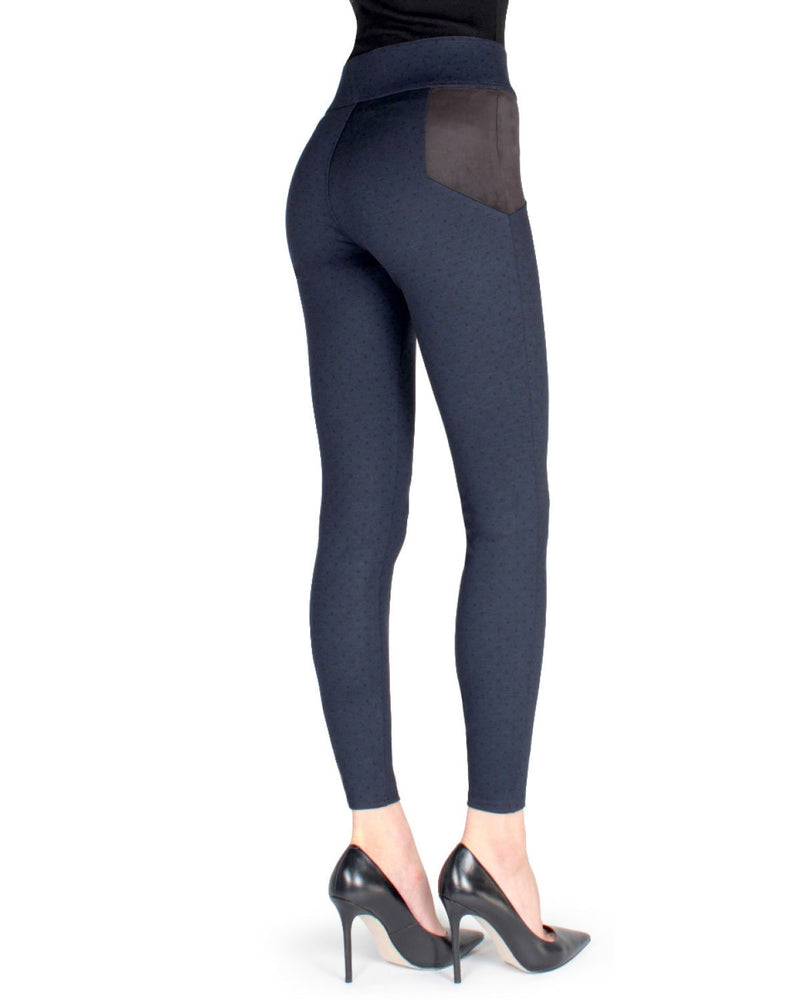 Memoi Navy/Black Lati Contrast Shaping Legging (rear) | Women's Premium Fashion Stretch Leggings