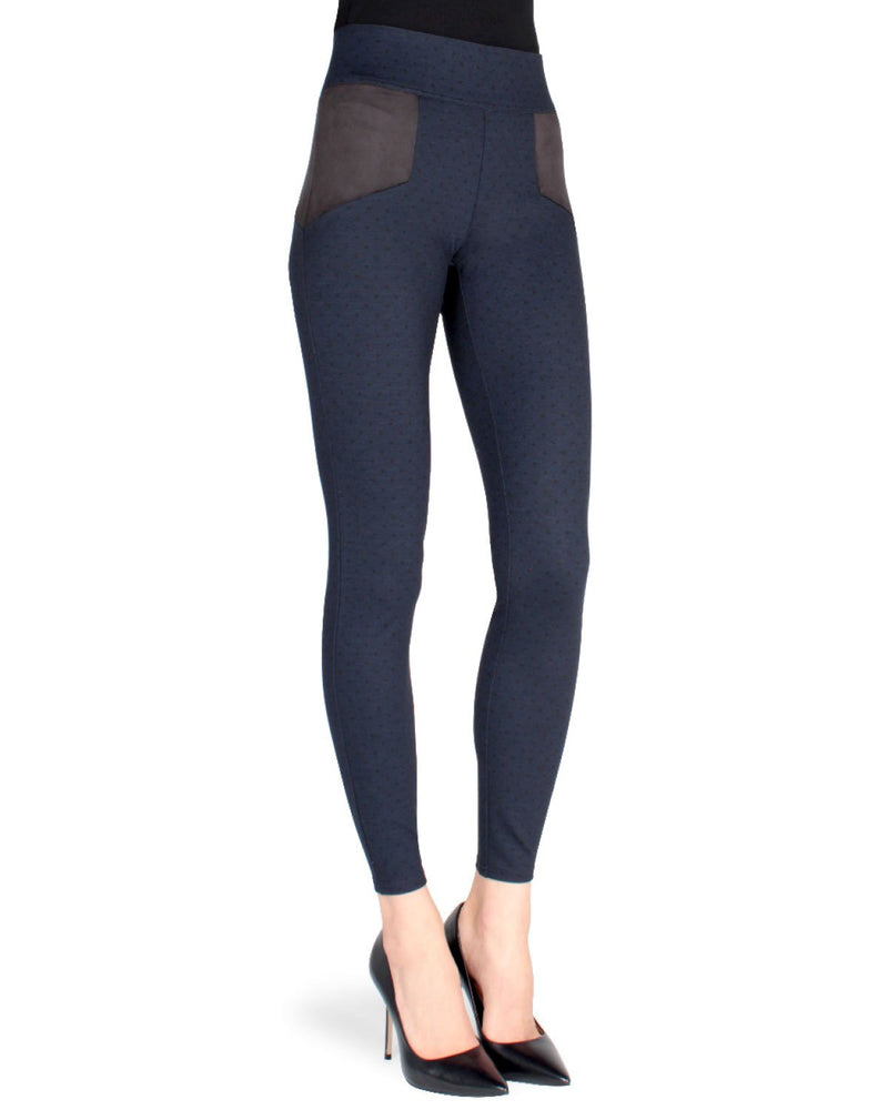 Memoi Navy/Black (2) Lati Contrast Shaping Legging (front) | Women's Premium Fashion Stretch Leggings