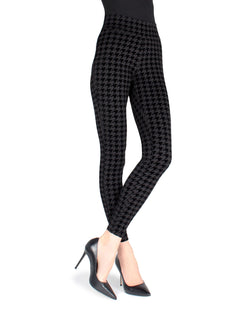 MeMoi Black Sueded Houndstooth Shaping Leggings | Women's Premium Leggings | Women's Pants - MSL-013