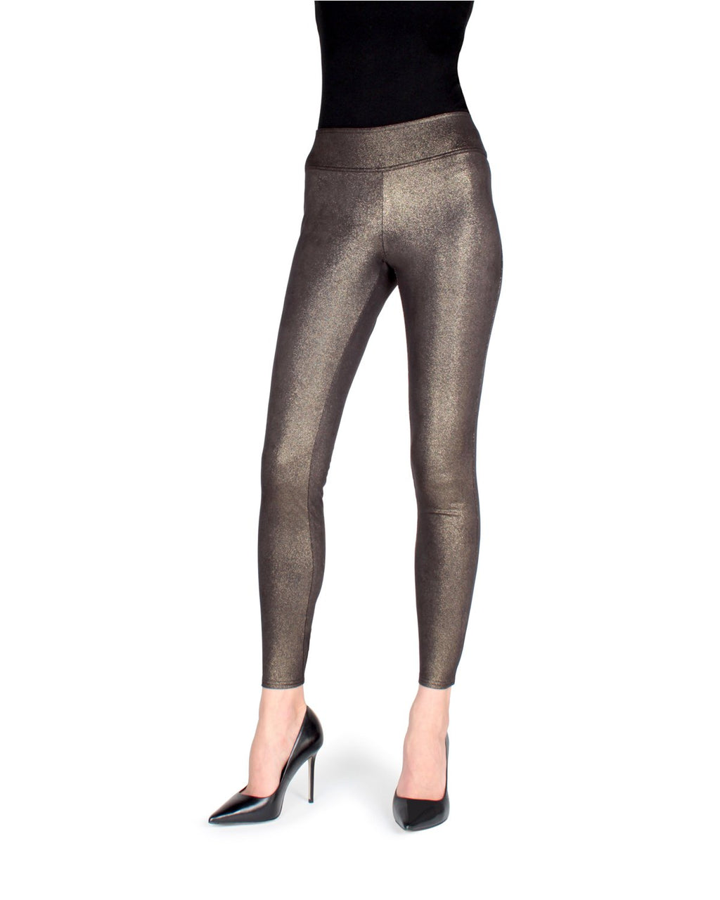 Memoi Black/Gold Metallic Shaping Leggings | Women's Premium Fashion Leggings Pants