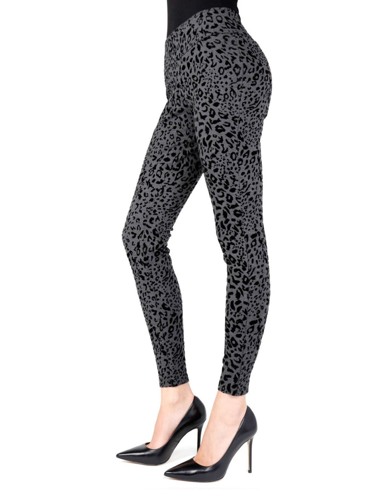 Memoi Black Flocked Monochrome Cheetah Legging | Women's Premium Fashion Leggings