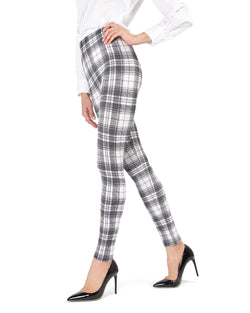 MeMoi Black/White Gaban Tartan Shaping Leggings | Women's Premium Fashion Leggings