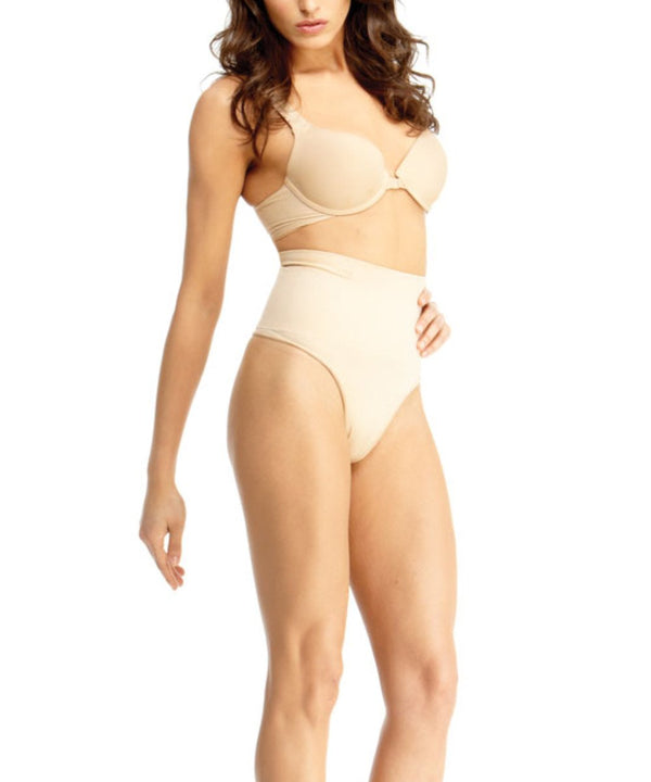 High-Waisted Thong Body Shaper - -Shapewear- Nude-