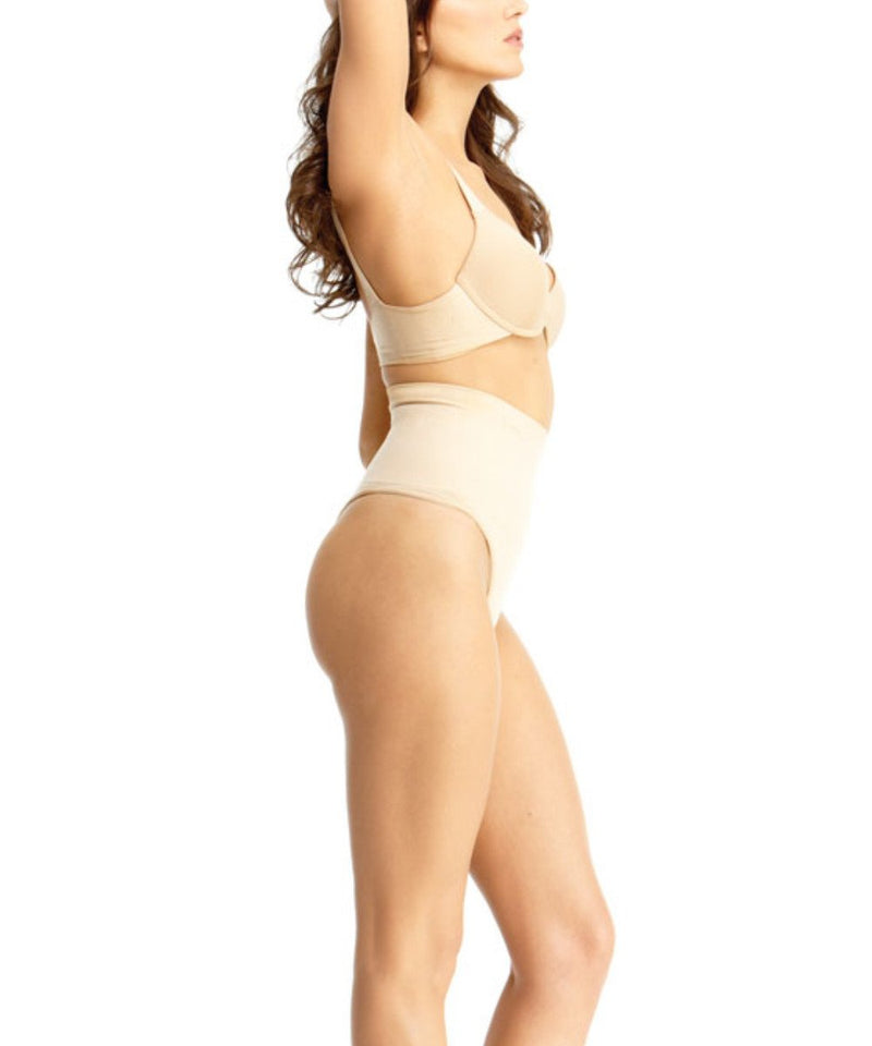 High-Waisted Thong Body Shaper - SlimMe by MeMoi Shapewear-- Nude-