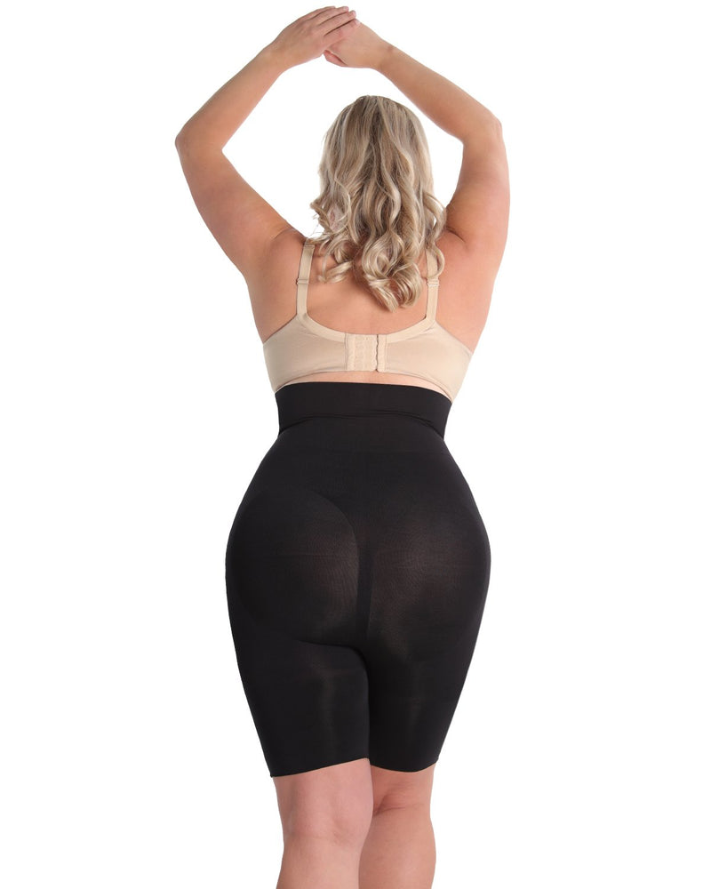 High-Waist Thigh Shaper | SlimMe by MeMoi® Women for Shapewear | Black Plus Size (back) Shapewear MSM-108