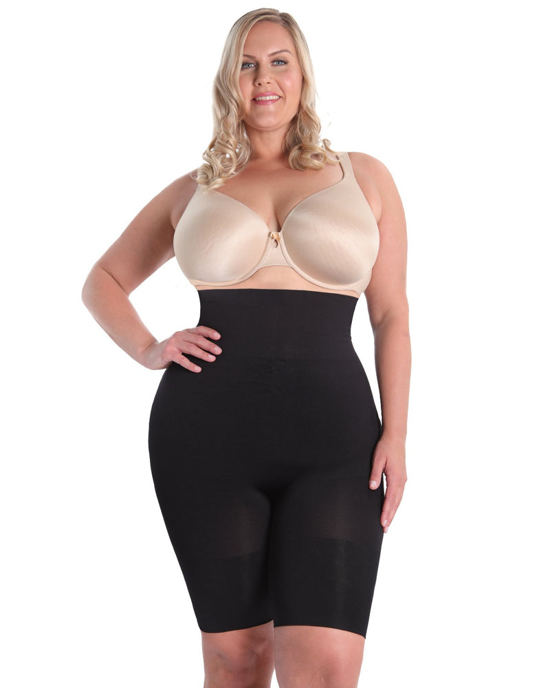 High-Waist Thigh Shaper | SlimMe by MeMoi® Women for Shapewear | Black Plus Size (Q2) Shapewear MSM-108