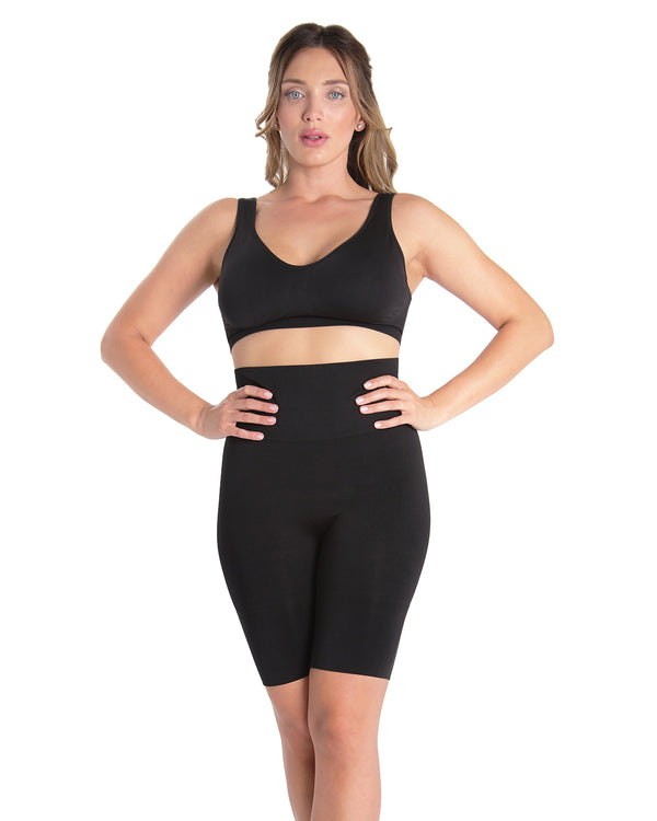 High-Waist Thigh Shaper | SlimMe by MeMoi® Women for Shapewear | Black Plus Size Shapewear MSM-108