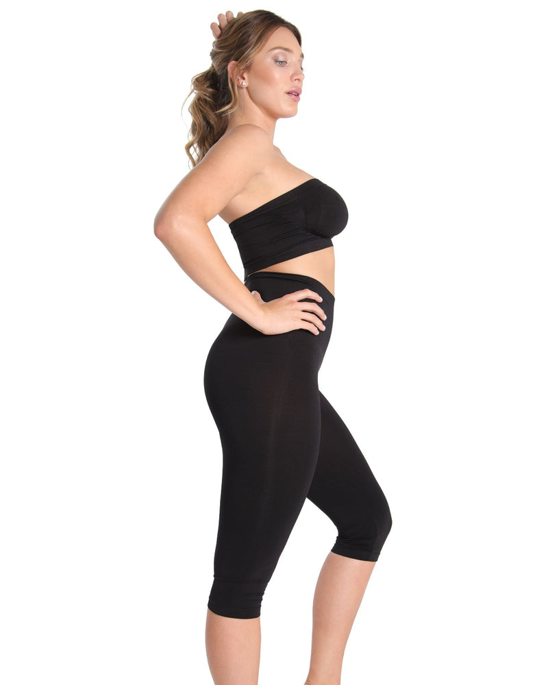 High Waist Shaping Capris | SlimMe by MeMoi Shapewear | Best tummy control shapewear | MSM-109 Black 1