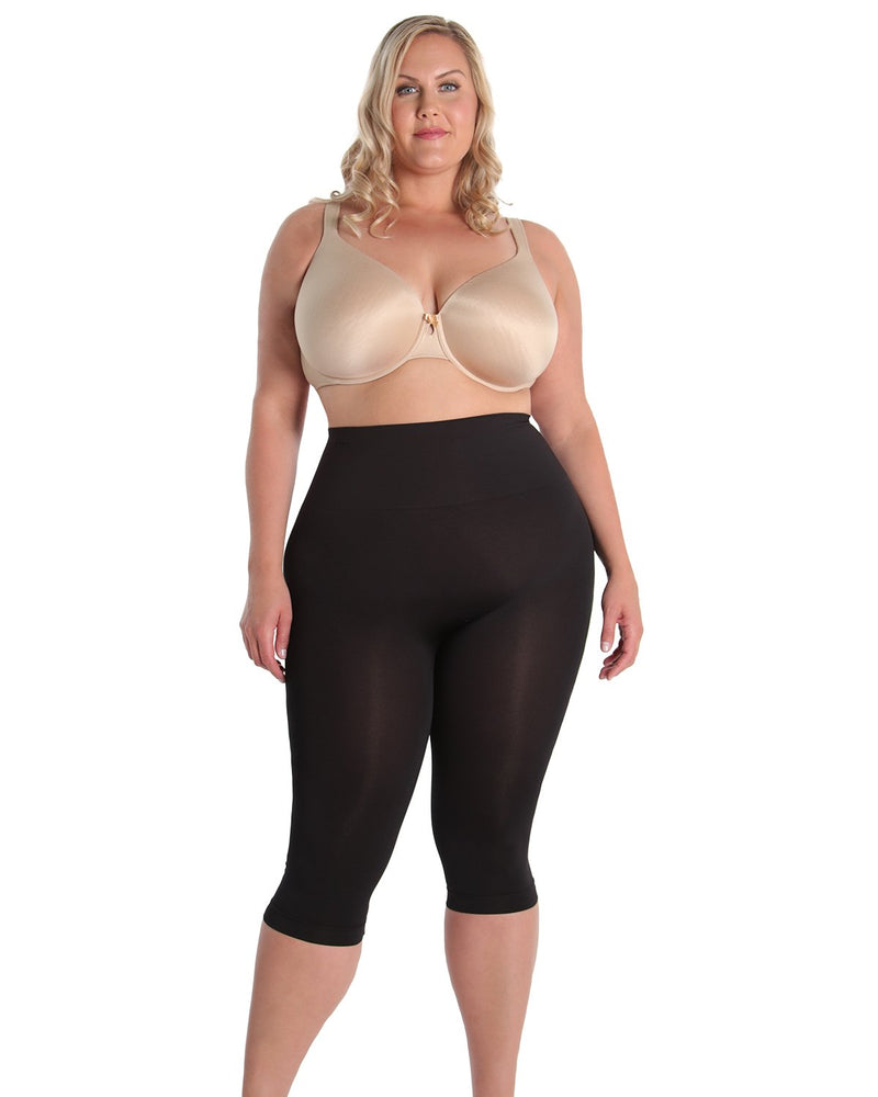 High Waist Shaping Capris | SlimMe by MeMoi Shapewear | Best tummy control shapewear | MSM-109 Black Queen 1