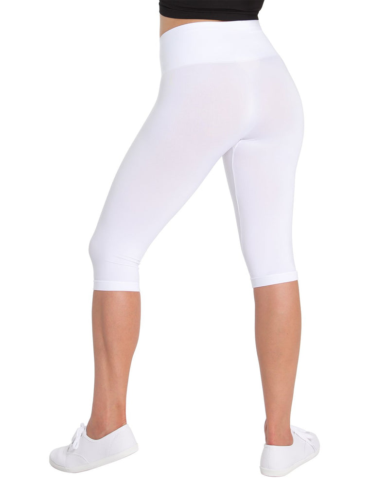 High Waist Capri Shaper | SlimMe by MeMoi Shapewear | Best tummy control shapewear | MSM-109 White 3