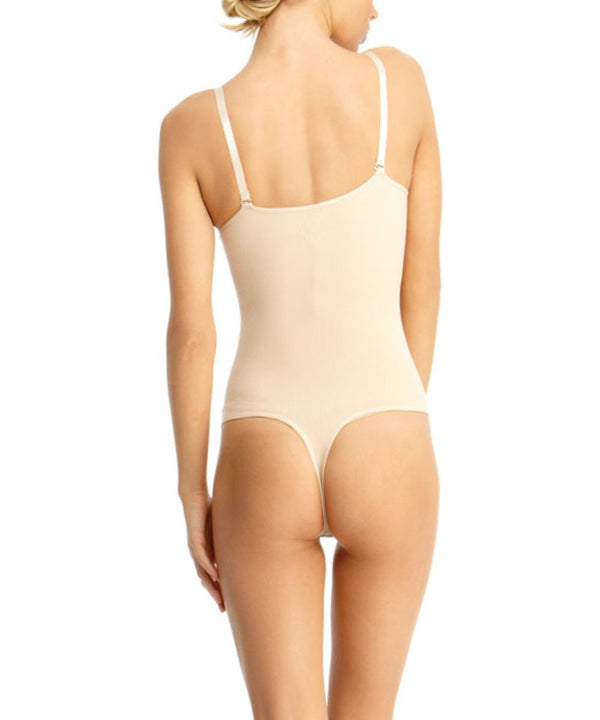 MeMoi Thong Bodysuit Shaper | Women's Shapewear Waist Cinchers Bodysuits (Rear) | Nude MSM-120