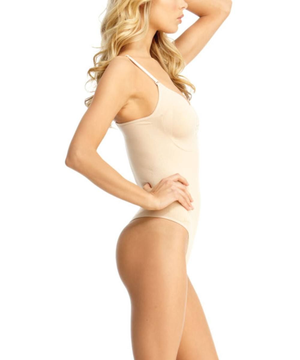 Body Suit With Thong Waist Cinchers - MeMoi -Shapewear- Nude-