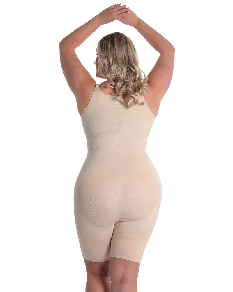 MeMoi Braless Shaping Bodysuit | Women's Shapewear Waist Cinchers Bodysuits (Queen Size Rear) | Nude MSM-121