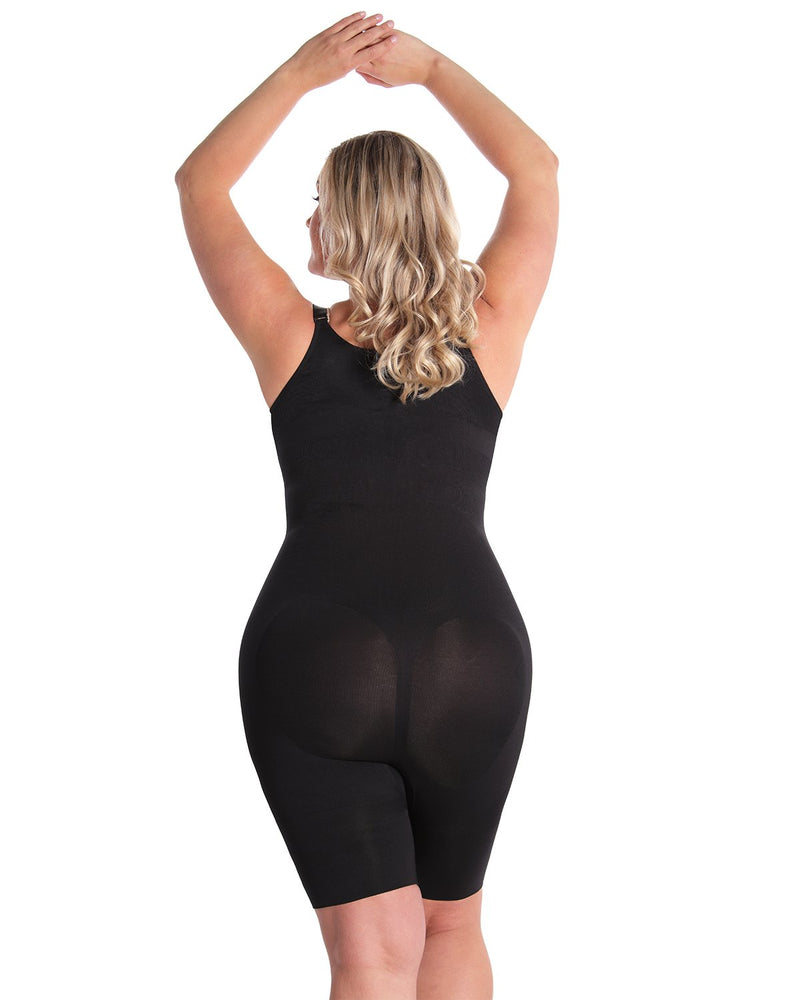 MeMoi Braless Shaping Bodysuit | Women's Shapewear Waist Cinchers Bodysuits (Queen Size Rear) | Black MSM-121