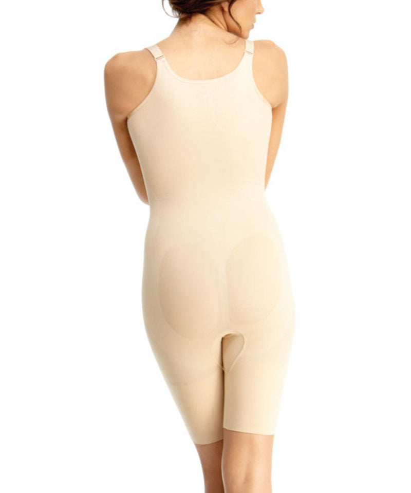 MeMoi Braless Shaping Bodysuit | Women's Shapewear Waist Cinchers Bodysuits (Rear) | Nude MSM-121