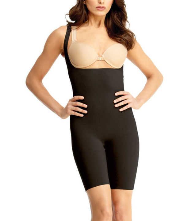 MeMoi Braless Shaping Bodysuit | Women's Shapewear Waist Cinchers Bodysuits (front) | Black MSM-121
