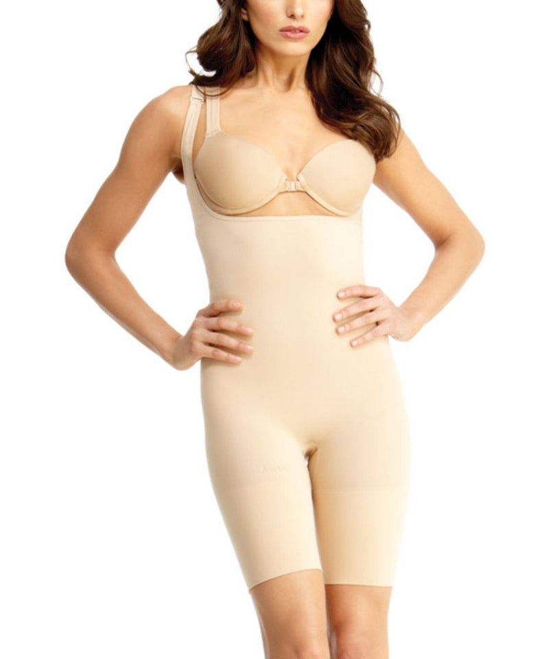 MeMoi Braless Shaping Bodysuit | Women's Shapewear Waist Cinchers Bodysuits (Front) | Nude MSM-121