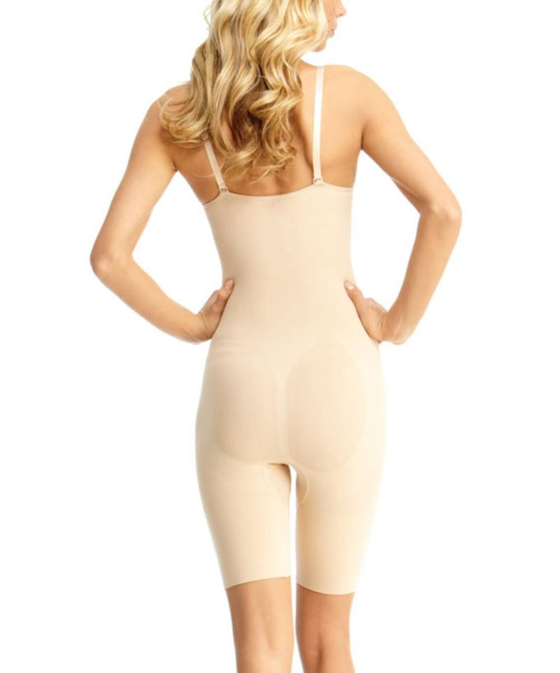 MeMoi Bodysuit Shaper with Thigh Control | Women's Shapewear Waist Cinchers Bodysuits (Rear) | Nude MSM-122