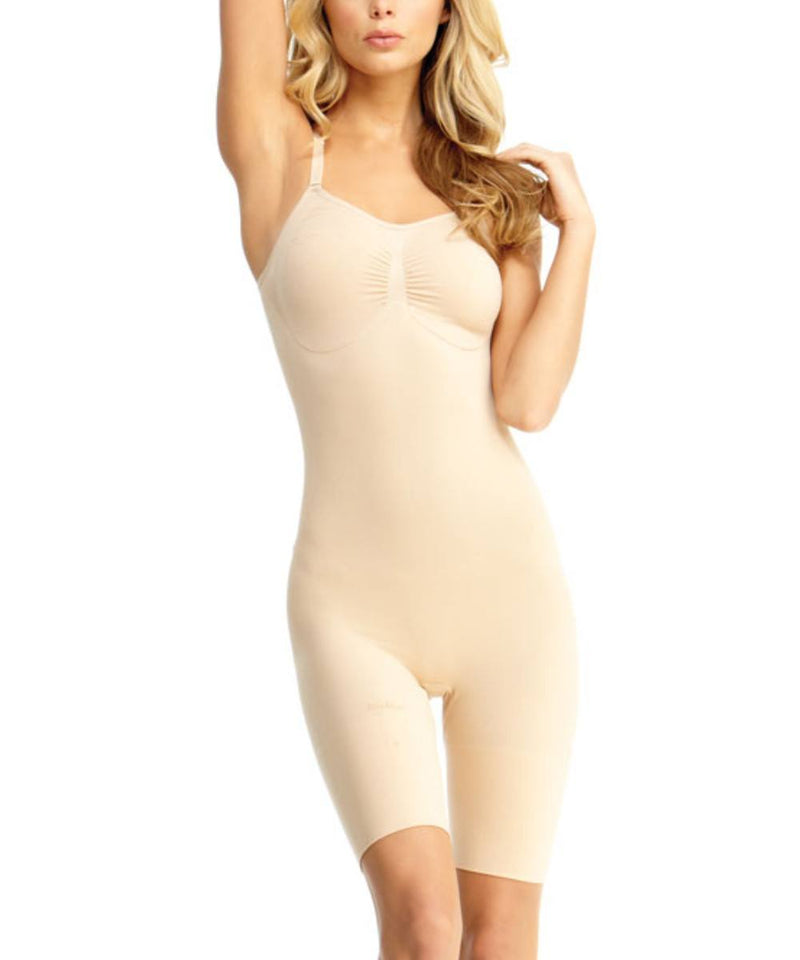 MeMoi Bodysuit Shaper with Thigh Control | Women's Shapewear Waist Cinchers Bodysuits (Front) | Nude MSM-122