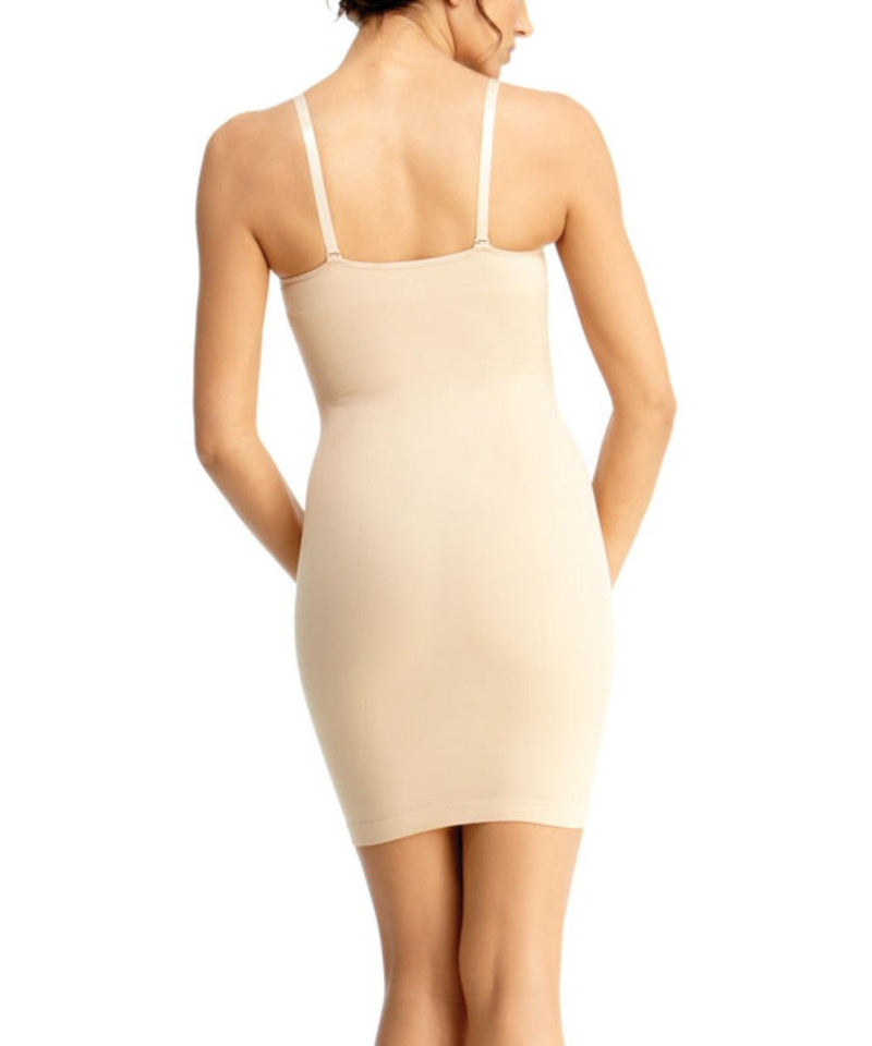 Shaping Slip Dress w/Adjust Straps Waist Cinchers - MeMoi -Shapewear- Nude-