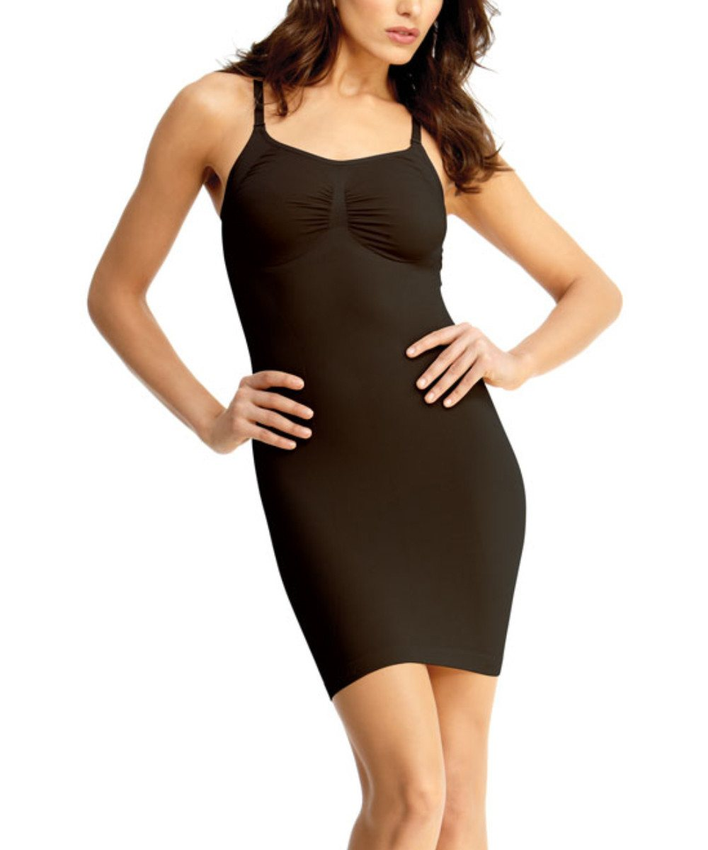 Shaping Slip Dress w/Adjust Straps Waist Cinchers - MeMoi -Shapewear- Black-