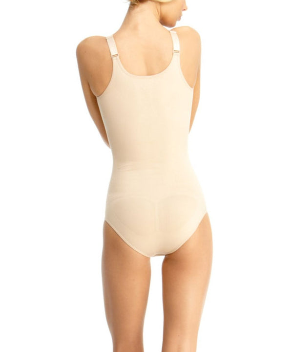 Braless Bodysuit w/Brief & Adjustable Straps Waist Cinchers - MeMoi -Shapewear- Nude-