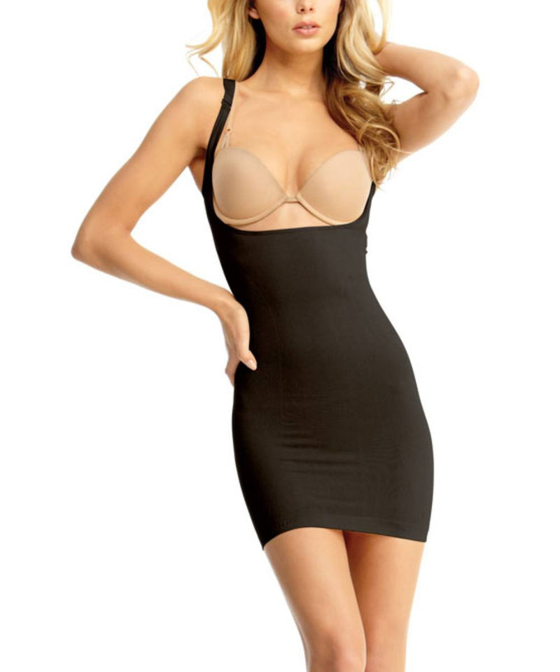 Braless Shaping Slip Dress w/Adjust Straps Waist Cinchers - MeMoi -Shapewear- Black-
