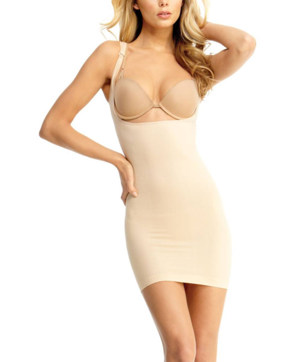 Braless Shaping Slip Dress w/Adjust Straps Waist Cinchers - MeMoi - 3