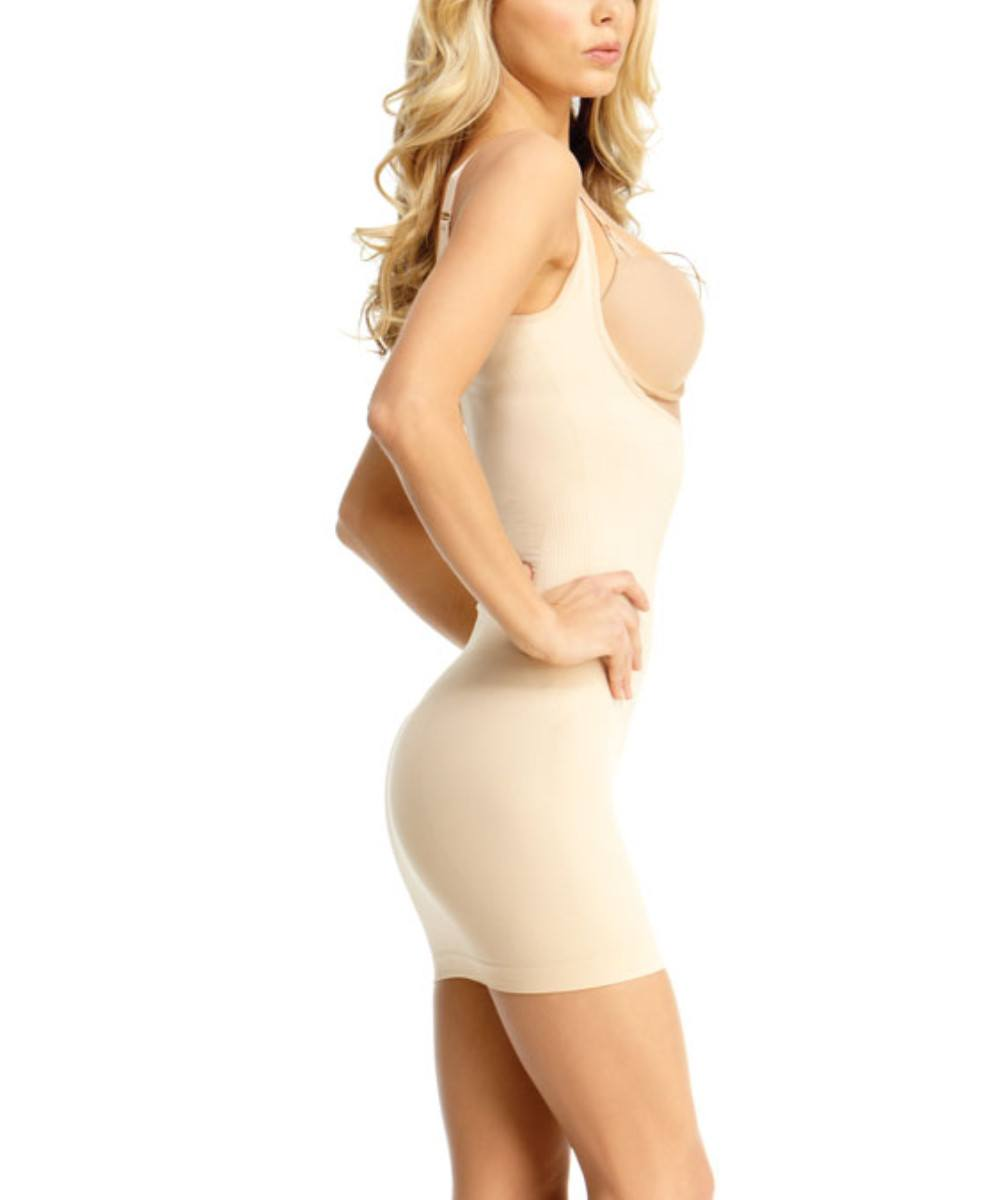 Braless Shaping Slip Dress w/Adjust Straps Waist Cinchers - MeMoi -Shapewear- Nude-