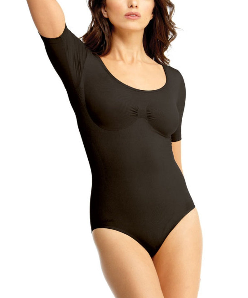 Short Sleeve Bodysuit w/Brief Waist Cinchers - MeMoi -Shapewear- Black-