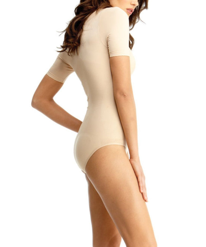 Short Sleeve Bodysuit w/Brief Waist Cinchers - MeMoi -Shapewear- Nude-