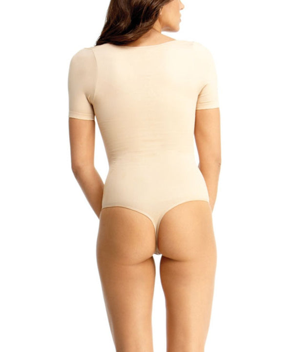 MeMoi Short-Sleeve Thong Bodysuit Shaper | Women's Top Shapewear Waist Cinchers Sexy Bodysuits (Rear) | Nude MSM-127