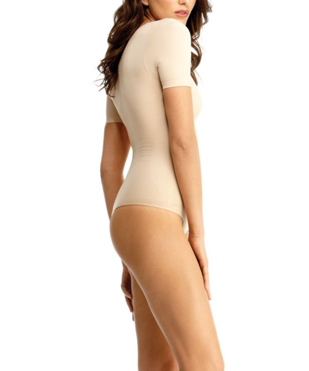 Short Sleeve Bodysuit w/Thong Waist Cinchers - MeMoi -Shapewear- Nude-