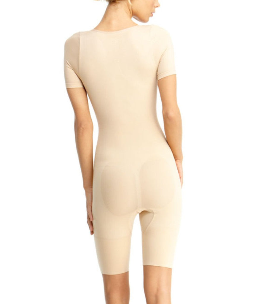 Short Sleeve Full Bodysuit w/Thigh Shaper Waist Cinchers - MeMoi - 2