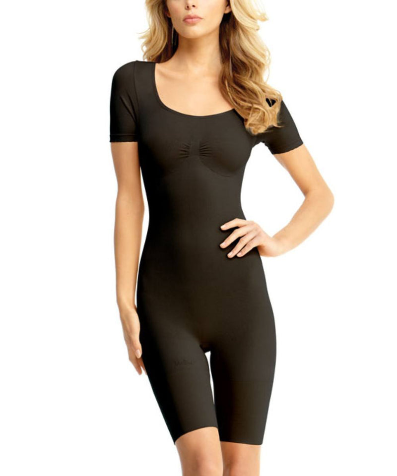 Short Sleeve Full Bodysuit w/Thigh Shaper Waist Cinchers - MeMoi -Shapewear- Black-