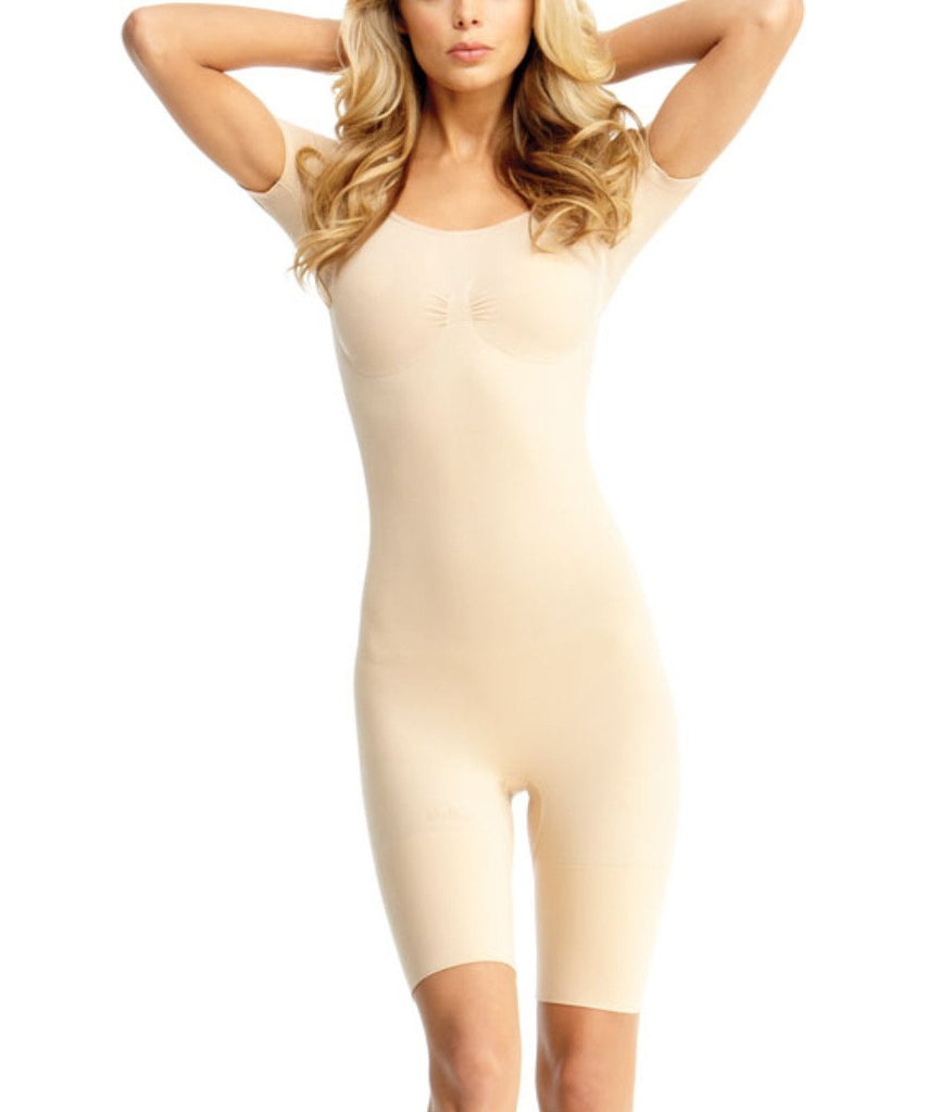 Short Sleeve Full Bodysuit w/Thigh Shaper Waist Cinchers - MeMoi - 5