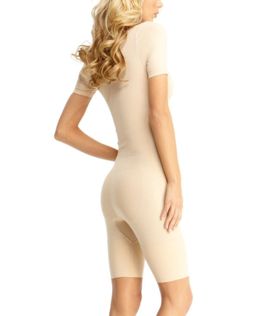 Short Sleeve Full Bodysuit w/Thigh Shaper Waist Cinchers - MeMoi - 3
