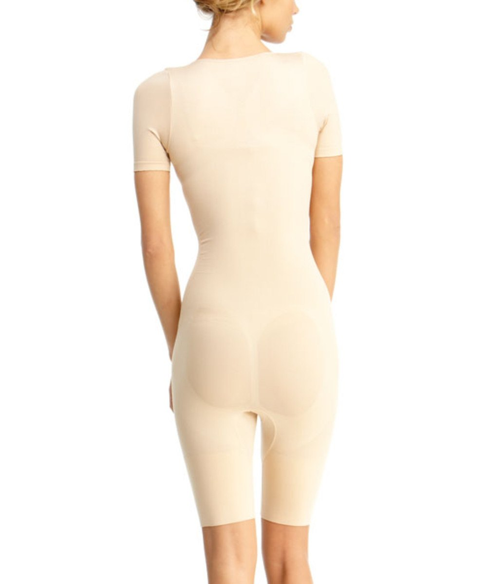 Short Sleeve Braless Bodysuit W/Thigh Shaper - MeMoi -Shapewear- Nude-