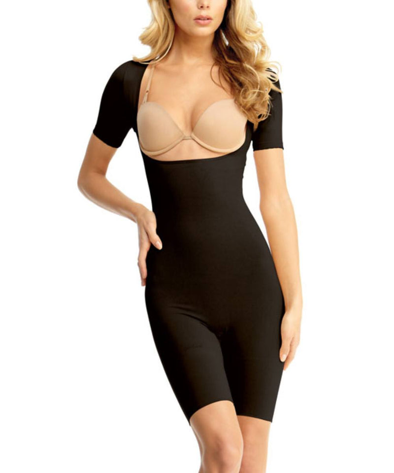 MeMoi Short-Sleeve Open Bust Bodysuit | Women's Shapewear Waist Cinchers Bodysuits | Black MSM-131