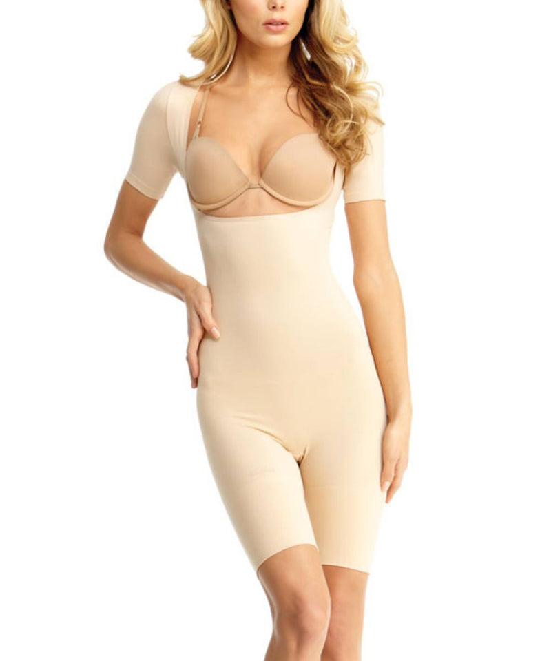 MeMoi Short-Sleeve Open Bust Bodysuit | Women's Shapewear Waist Cinchers Bodysuits (Front) | Nude MSM-131