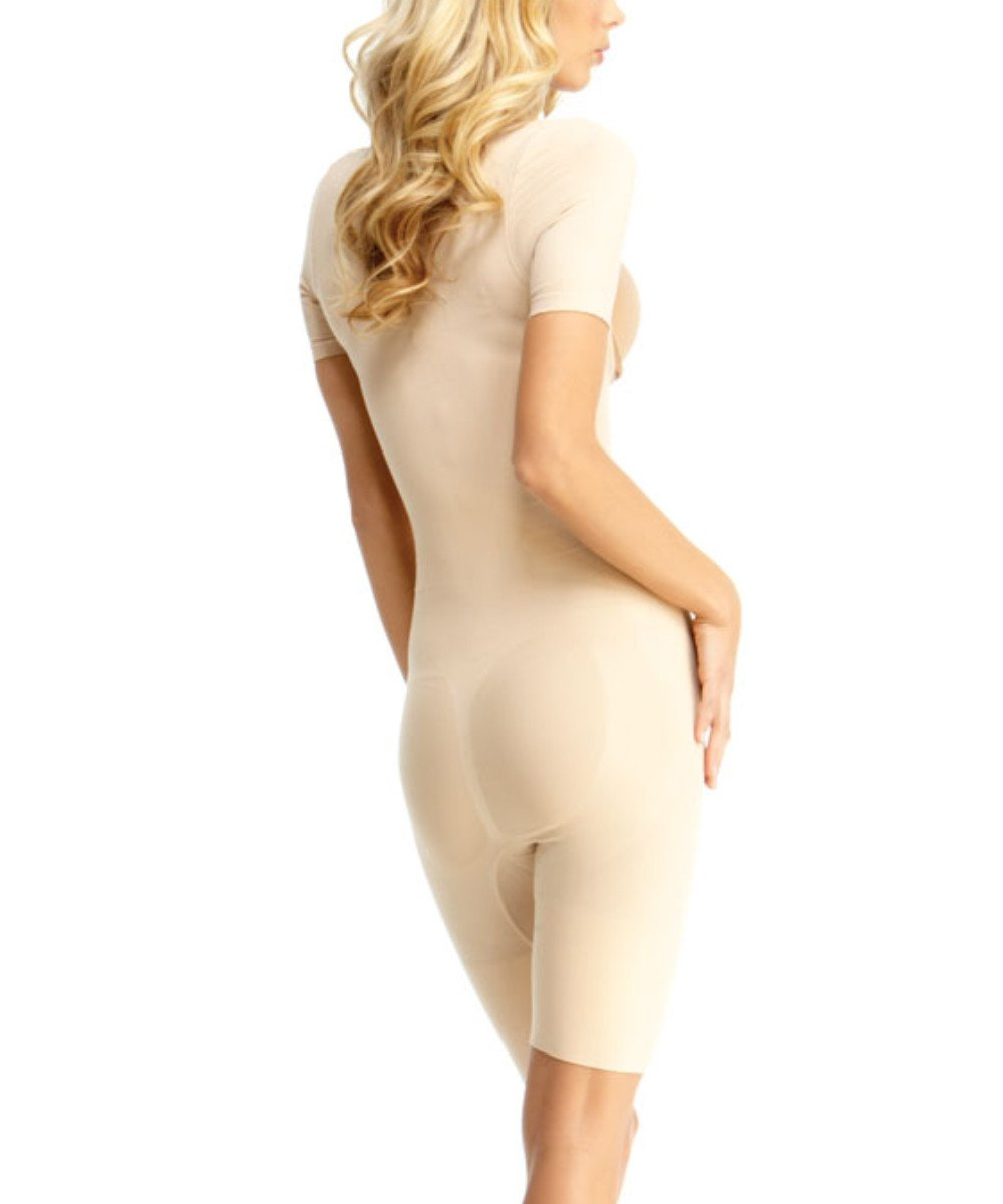 Short Sleeve Braless Bodysuit W/Thigh Shaper - MeMoi - 3