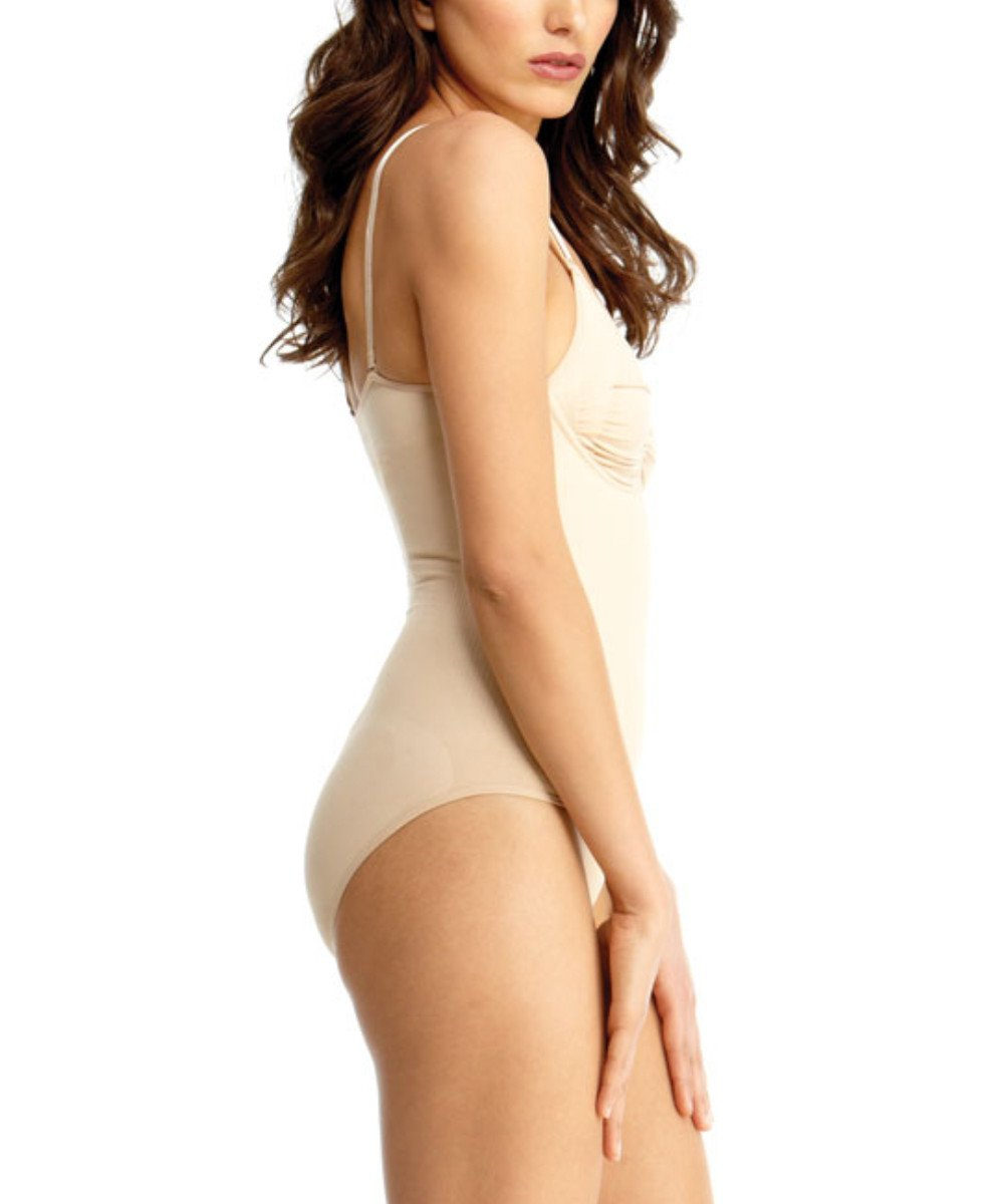 Bodysuit w/Brief & Adjustable Straps & Underwire Waist Cinchers  -Shapewear- Nude- -3
