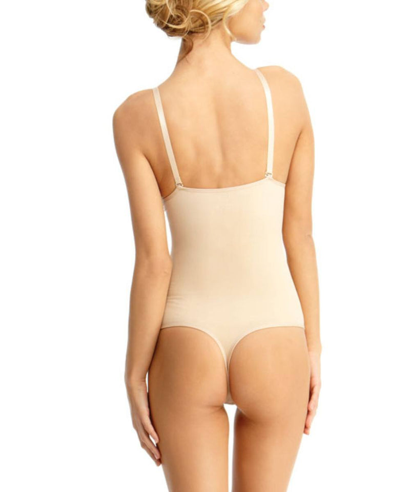 MeMoi Thong Bodysuit Shaper w/ Underwire | Women's Shapewear Waist Cinchers Bodysuits (Rear) | Nude MSM-152