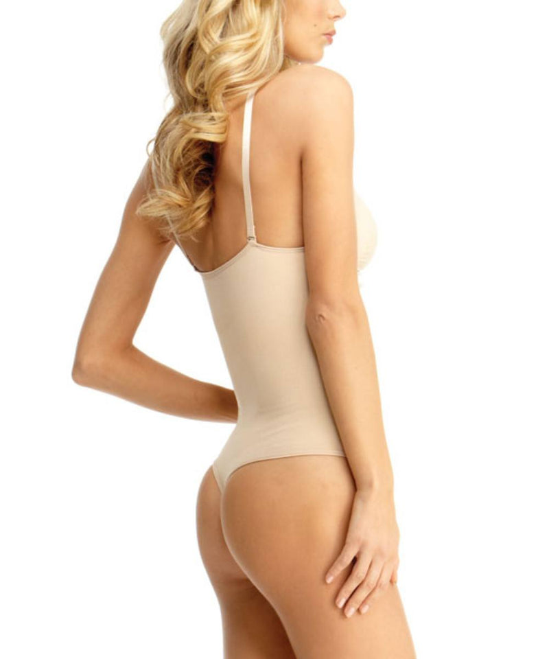 MeMoi Thong Bodysuit Shaper w/ Underwire | Women's Shapewear Waist Cinchers Bodysuits (Side1) | Nude MSM-152